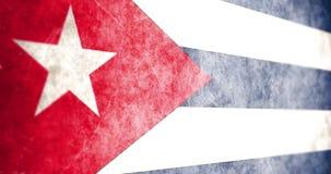 Кинематографическая оживленная камера сползая через флаг Кубы grunge иллюстрация вектора