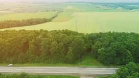 Кинематографический надземный вид с воздуха двигая автомобилей, находящся на поездке, через изумляя ландшафт 4K сток-видео