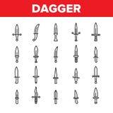 Кинжал, линия набор острого вектора оружия тонкая значков иллюстрация штока