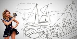 Киносъемка в морском порте Стоковые Изображения RF