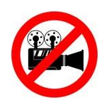 Киносъемка запрета видео- Остановите видео- отладку Знак и видеокамера красной дороги запрещая иллюстрация штока