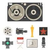 Кино кино делая тв-шоу оборудует иллюстрацию кинемотографии вектора значков символов оборудования Стоковое Изображение RF