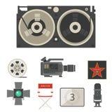 Кино кино делая тв-шоу оборудует символы оборудования Стоковая Фотография