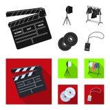 Кино, диски и другое оборудование для кино Делать значки собрания комплекта кино в черном, плоском символе вектора стиля иллюстрация штока