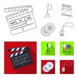 Кино, диски и другое оборудование для кино Делать значки собрания комплекта кино в плане, плоский символ вектора стиля иллюстрация штока