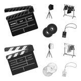 Кино, диски и другое оборудование для кино Делать значки собрания комплекта кино в черном, monochrome векторе стиля иллюстрация штока