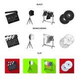 Кино, диски и другое оборудование для кино Делать значки собрания комплекта кино в черном, плоском, monochrome стиле иллюстрация вектора