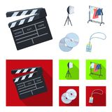 Кино, диски и другое оборудование для кино Делать значки собрания комплекта кино в шарже, плоский символ вектора стиля иллюстрация штока