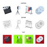 Кино, диски и другое оборудование для кино Делать значки собрания комплекта кино в шарже, план, плоский стиль иллюстрация штока