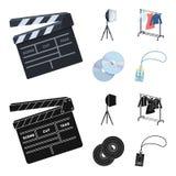 Кино, диски и другое оборудование для кино Делать значки собрания комплекта кино в шарже, черный вектор стиля бесплатная иллюстрация