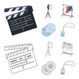 Кино, диски и другое оборудование для кино Делать значки собрания комплекта кино в шарже, вектор стиля плана иллюстрация штока