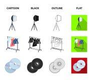 Кино, диски и другое оборудование для кино Делать значки собрания комплекта кино в шарже, чернота, план, плоский стиль иллюстрация вектора