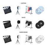 Кино, диски и другое оборудование для кино Делать значки собрания комплекта кино в шарже, чернота, monochrome стиль иллюстрация штока
