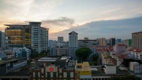 Кино промежутка времени захода солнца над зоной Bugis в Сингапуре акции видеоматериалы