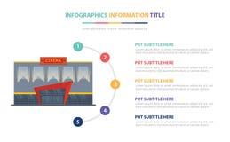 Кино строя infographic концепцию шаблона с 5 пунктами перечисляет и различный цвет с чистой современной белой предпосылкой - вект бесплатная иллюстрация