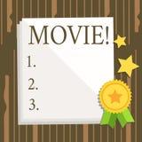 Кино текста сочинительства слова Концепция дела для видео фильма кино или телевидения киносъемк показанного на белизне экрана иллюстрация вектора