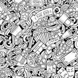 Кино doodles шаржа картина милого безшовная