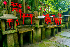 КИОТО, ЯПОНИЯ - 5-ОЕ ИЮЛЯ 2017: Стробы Torii святыни Fushimi Inari Taisha в Киото, Японии Там больше чем 10.000 Стоковые Фотографии RF