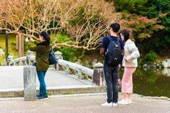 КИОТО, ЯПОНИЯ - 7-ОЕ НОЯБРЯ 2017: Люди в парке города сфотографированы Скопируйте космос для текста Стоковая Фотография RF