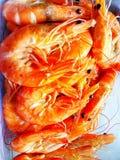 Кипеть креветка имеет оранжевый цвет стоковые фото