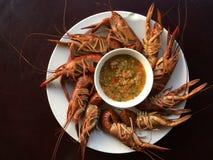 Кипеть креветка на деревянной таблице с соусом морепродуктов Стоковые Фото
