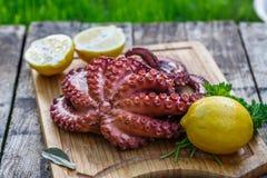 Кипеть осьминог готовый для подачи с лимоном и петрушкой на деревянной доске Стоковое фото RF