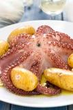 Кипеть осьминог с картошкой на белом блюде Стоковые Изображения