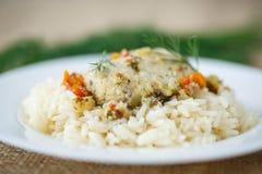 Кипеть рис с шариками рыб Стоковое Фото