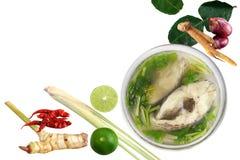 Кипеть рыбы тилапии в ясных шаре и карри на слове Том-Ям-pla белой предпосылки тайском, супе ингридиентов рыб куска части пряном стоковое фото