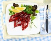 Кипеть crayfish с лимоном и салатом Стоковое фото RF