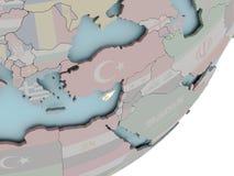 Кипр на глобусе с флагами Стоковые Изображения RF