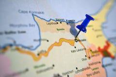 Кипр на карте Стоковые Изображения RF