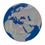 Кипр на политическом глобусе Стоковая Фотография