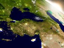 Кипр с флагом в восходящем солнце Стоковое Изображение RF