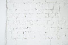Кирпичная стена белого grunge структурная Стоковое Фото