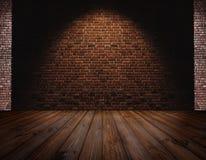 Кирпичная стена и паркет, светлое пятно в центре для предпосылки Стоковая Фотография