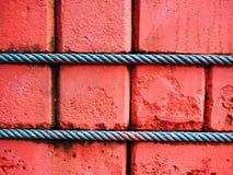 Кирпичная стена красной глины при зеленая связанная веревочка Манилы Стоковое Изображение RF