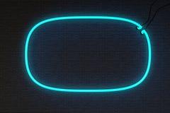 Кирпичная стена неоновой вывески рамки Стоковое Фото