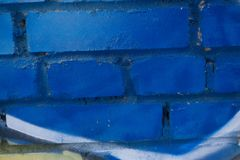 Кирпичная стена Кирпичная стена покрашенная в сини Стоковые Изображения RF