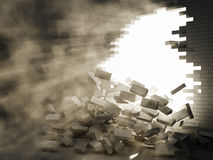 кирпичная стена пролома Стоковая Фотография RF