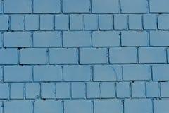Кирпичная стена Стена покрашенная в голубом цвете текстура Стоковое Фото