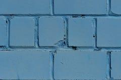 Кирпичная стена Стена покрашенная в голубом цвете текстура Стоковые Изображения