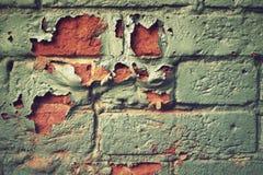 Кирпичная стена с, который слезли краской Стоковые Фото