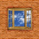 Кирпичная стена с небом окна Стоковое фото RF