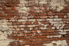 Кирпичная стена уникально песчаника красная и белая краска Стоковые Фотографии RF