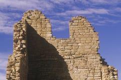 Кирпичная стена Adobe, около ОБЪЯВЛЕНИЕ 1060, руины каньона Chaco индийские, центр индийской цивилизации, NM Стоковая Фотография