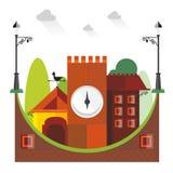 Кирпичное здание покрашенное вектором красное с травой стен Стоковое Фото