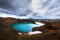 Кисловочное горячее озеро в геотермической долине Leirhnjukur Стоковые Изображения