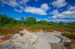 Кисловочное озеро в кальдере вулкана ` s Uzon Камчатка, Россия Стоковые Фотографии RF
