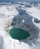 Кисловочное озеро в кратере вулкана Стоковое фото RF